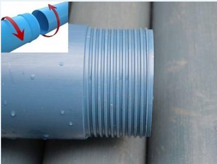 Принцип резьбового соединения обсадных пластиковых нПВХ труб